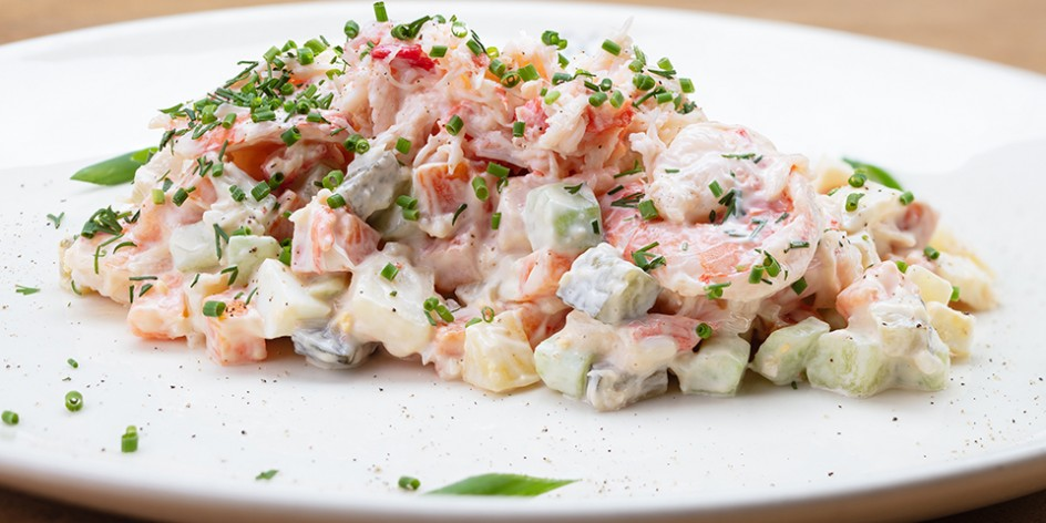 RUSSIAN OLIVIER SALAD WITH CRAB